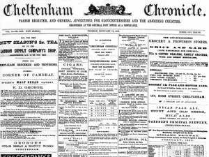 The Cheltenham-Chronicle is available as far back as 1809.