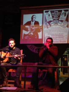 Me (left) and Vincenzo Colonna (right) at 'The Discovery of the Blues: A Musical Documentary', Frog & Fiddle, Cheltenham, 26th Oct 2015